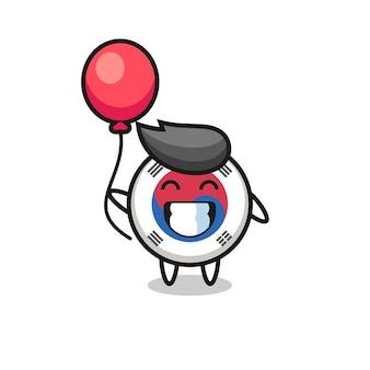 South korea flag mascot illustration is playing balloon , cute design