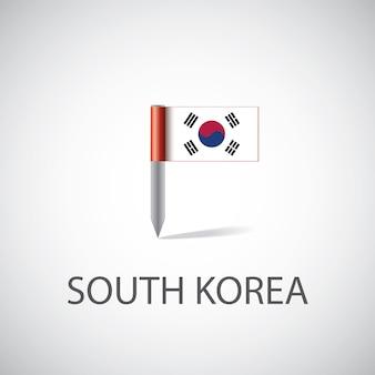 밝은 배경에 고립 된 한국 국기 핀