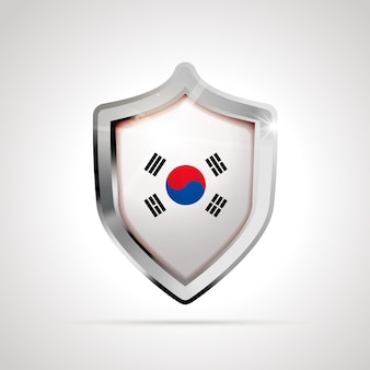 South korea flag projected as a glossy shield