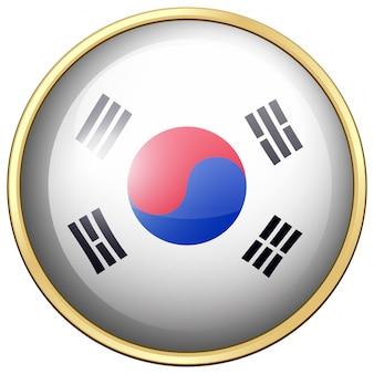 Bandiera della corea del sud sul pulsante rotondo
