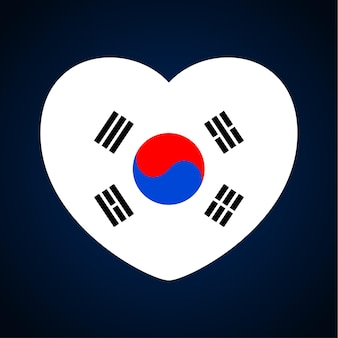 South korea flag in a shape of heart. icon flat heart symbol of love on the background national flag. vector illustration.