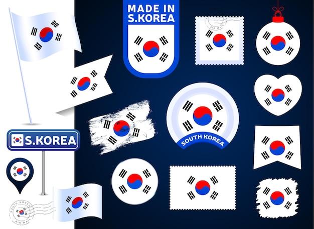 한국 국기 벡터 컬렉션입니다. 평평한 스타일의 공휴일과 공휴일을 위한 다양한 모양의 국기 디자인 요소의 큰 집합입니다. 소인, 만든, 사랑, 원, 도로 표지판, 파