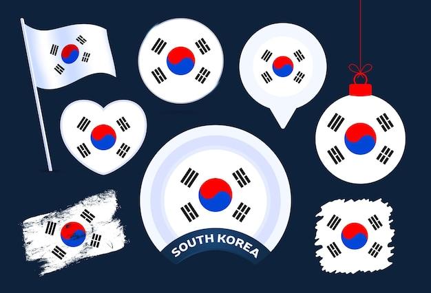 한국 국기 벡터 컬렉션입니다. 평평한 스타일의 공휴일과 공휴일을 위한 다양한 모양의 국기 디자인 요소의 큰 집합입니다.