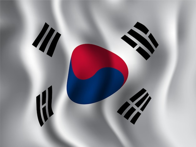 South korea flag wavy style for independence day