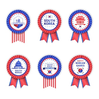 South korea games medals set template isolated on white