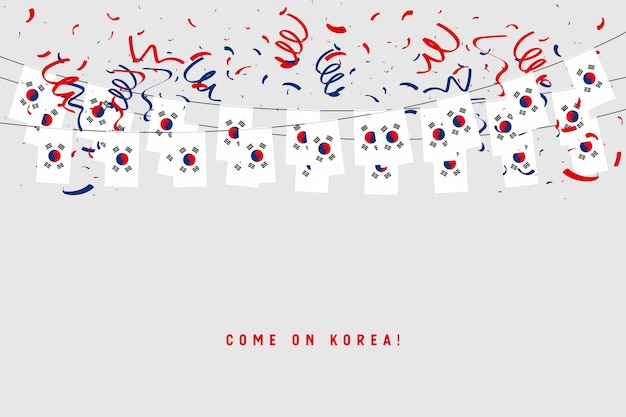 South korea garland flag with confetti on gray background.