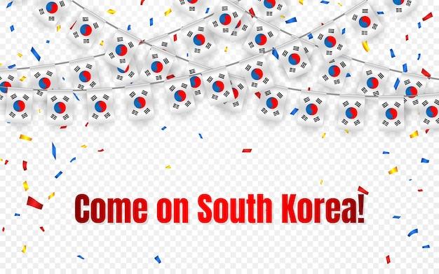투명 배경에 색종이와 한국 화환 깃발, 축하 템플릿 배너에 대한 멧새를 걸어
