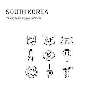 South korea icon design with transparent thin line