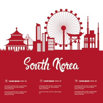 South korea landmarks silhouette seoul famous buildings city view with monuments on white