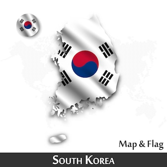 South korea map and flag . waving textile design . dot world map background .