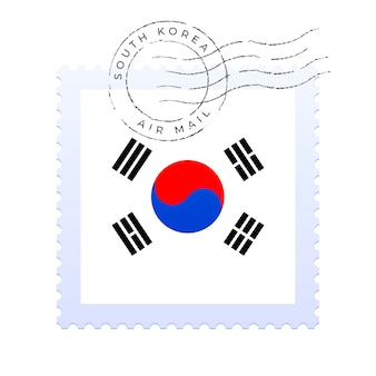South korea postage mark. national flag postage stamp isolated on white background vector illustration. stamp with official country flag pattern and countries name