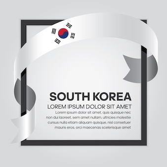 South korea ribbon flag vector illustration on a white background