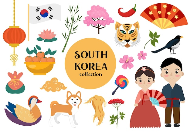South korea set of objects. korean national collection of design elements with traditional symbols. vector illustration clip art.