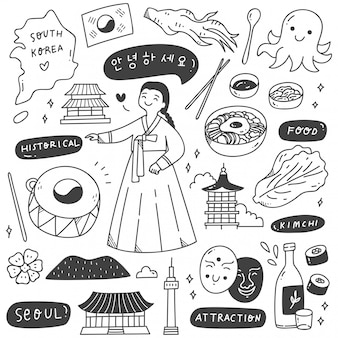 South korea travel destination doodle set