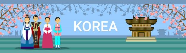 South korea travel destination, korean people in traditional costumes over seoul temple landmark