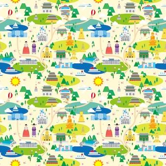 韓国旅行マップのシームレスなパターンデザイン