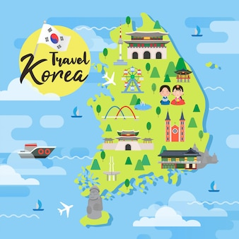 South korea travel map vector