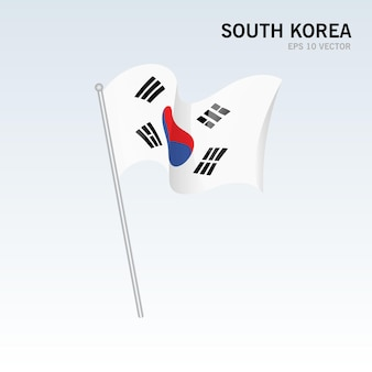 한국 회색에 고립 된 깃발을 흔들며