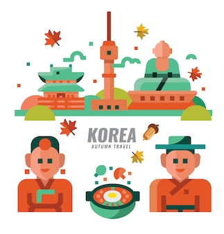 South korean autumn travel. flat design. vector illustration