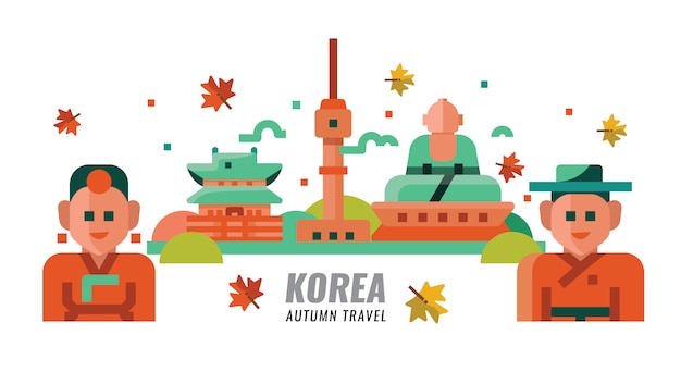 South korean autumn travel. vector illustration