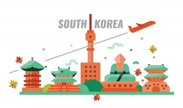 South korean autumn travel. vector illustration