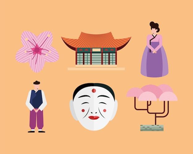 South korean icon set on orange background