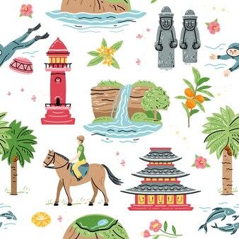전통적인 관광 명소와 한국 토지 원활한 패턴