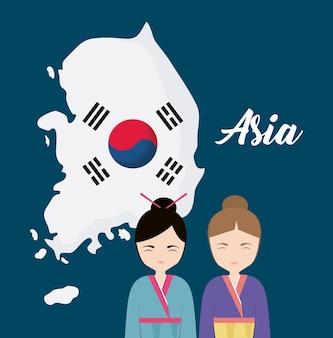 Южнокорейская карта и корейские девушки с традиционным костюмом