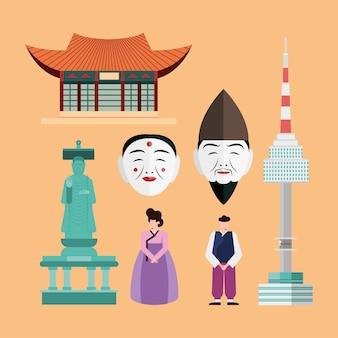 オレンジ色の背景に設定された韓国のシンボル