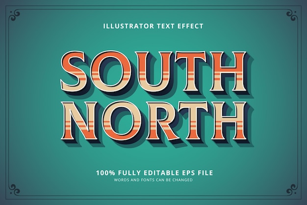 South north text effect