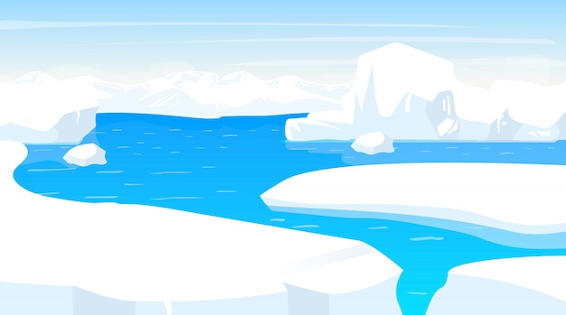 South pole   illustration. antarctic landscape with iceberg edges. white snow panoramic land with ocean. polar cold scene. nordic surface. frost fjord. alaska. arctic cartoon background