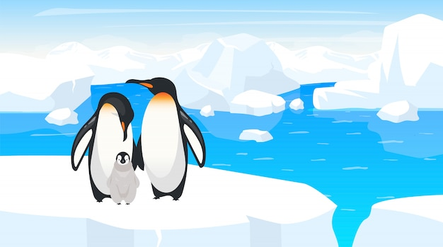 Южный полюс дикой природы плоской иллюстрации. семья императорских пингвинов на треснувшем айсберге. взрослые птицы с птенцом на зимний пейзаж. антарктида дикой природы. анимационные персонажи животных