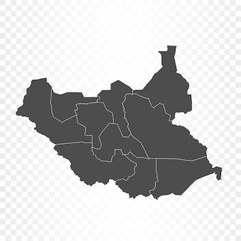 南スーダンの地図の分離レンダリング