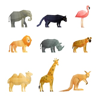 Southern wild animals polygonal icons set