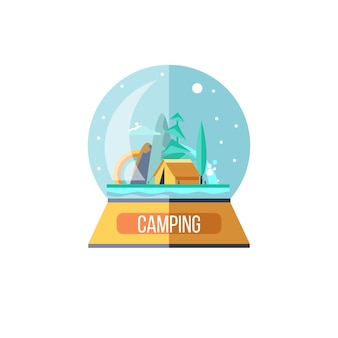 A souvenir in a glass ball. camping. a trip out of town on nature.  summer outdoor recreation. stay in a tent, fishing, outdoor games. mountain landscape. vector illustration.