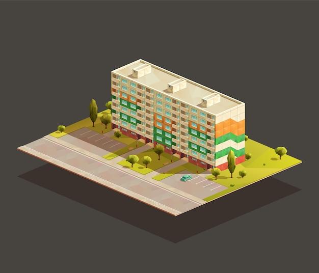 Soviet block of flats isometric realistic illustration