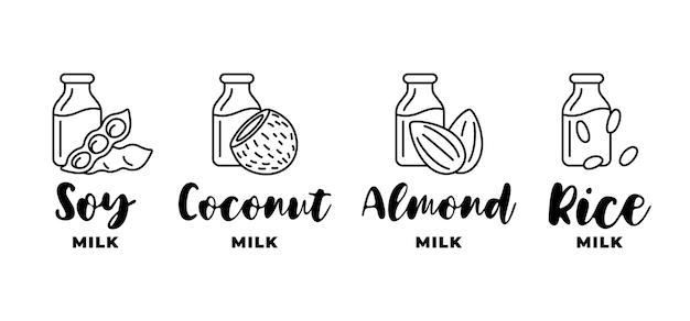 大豆、アーモンド、ココナッツ、ライスミルクのロゴセット。ベジタリアン乳糖乳製品フリードリンク包装用の線形デザインバッジ要素。健康的なビーガン飲料手描きロゴタイプコレクションベクトルイラスト