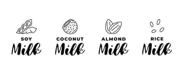 大豆、アーモンド、ココナッツ、ライスミルクのロゴセット。パッケージ線形バッジデザイン要素セット。手描きの健康的なビーガン飲料分離ロゴタイプコレクションベクトルイラスト