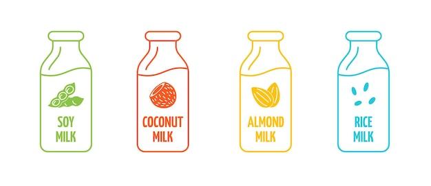 大豆、アーモンド、ココナッツ、ライスミルクのロゴタイプがボトルの線形に設定されています。バッジのデザイン要素をパッケージ化します。手描きの健康的なビーガンドリンクラベル。分離されたロゴコレクションベクトルepsイラスト