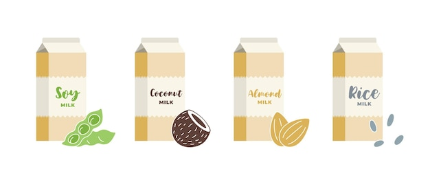 Soy, almond, coconut and rice cardboard box set. vegetarian lactose dairy free drink packaging collection. healthy vegan beverage packages. isolated flat vector illustration