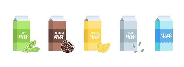 Soy, almond, coconut, rice and cow milk cardboard box set. carton packaging design element collection. hand drawn healthy vegan lactose free drink. isolated vector eps illustration