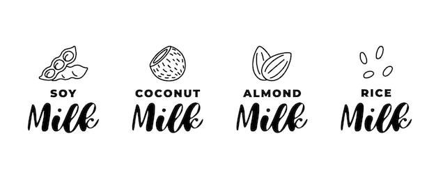 Soy, almond, coconut and rice milk logo set. packaging linear badge design element set. hand drawn healthy vegan drinks isolated logotype collection vector illustration