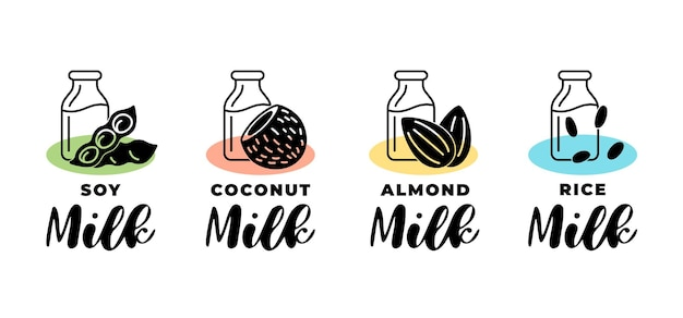 Soy, almond, coconut and rice vegetarian milk logo set. vegan dairy packaging linear badge design element set. hand drawn healthy lactose free drinks isolated logotype collection vector illustration