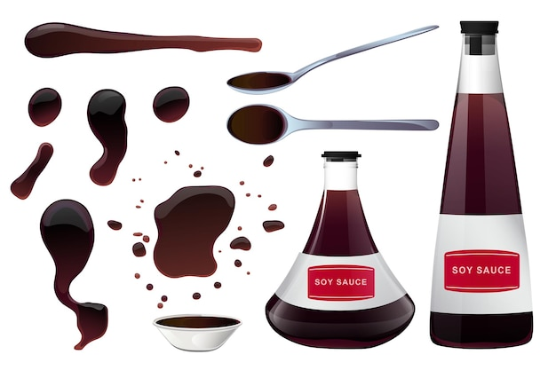 Soy asian sushi sauce in bowl glass bottles and spoon with sauce puddles