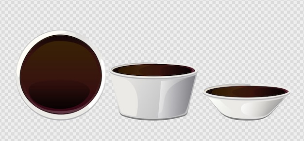 Soy asian sushi sauce in  bowl. realistic elements for food icon and design