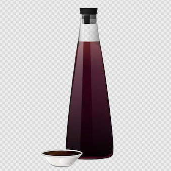 Soy asian sushi sauce in glass bottle. realistic elements for food icon and design
