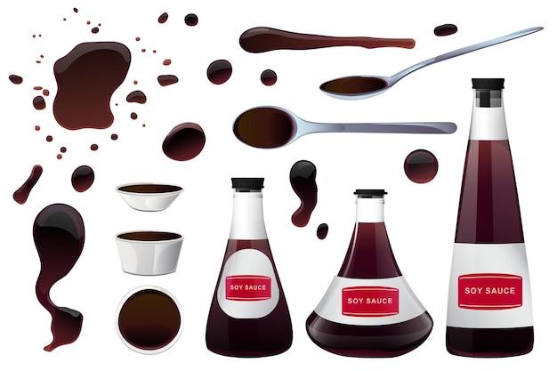 Соевый азиатский соус для суши в миске, стеклянных бутылках и ложке с лужами соуса. реалистичные элементы для значка еды и дизайна