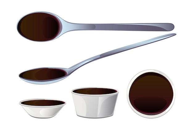 Соевый азиатский соус для суши в ложке и миске. реалистичные элементы для значка еды и дизайна