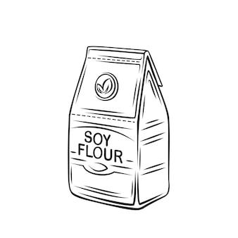 紙袋のアウトラインアイコン、モノクロを描く大豆粉