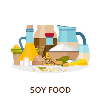 フラットスタイルの大豆食品の背景。